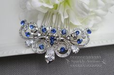 Something Blue Hair Comb Cubic Zirconia Hair Comb by SparklyAvenue