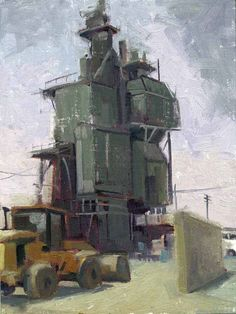 William Wray - Cement Factory City Landscape, Urban Landscape, Landscape Paintings, Industrial Artwork, Urban Industrial, Classical Realism, Street Painting, Building Art, Cityscapes