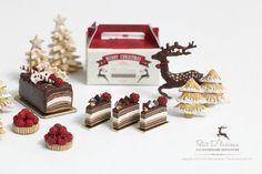 Chocolate decadente trufa Capas Shortcake Rebanadas de 1/12 Dollhouse miniatura Pastelería Navidad