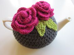 How wonderful and cute is this tea cozy crocheted by Leah over at Why Didn't Anyone Tell Me? Leah shares with us how she creates her tea cozy patterns so that we might all be inspired to create ou. Crochet Tea Cosy Free Pattern, Tea Cosy Pattern, Crochet Flower Patterns, Crochet Flowers, Free Crochet, Scarf Patterns, Knitting Patterns, Crochet Tea Cosies, Hand Crochet