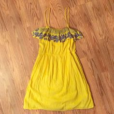Eight Sixty embroidered sundress Here comes the sun! Eight Sixty spaghetti strap dress comes with beautiful blue embroidery at the ruffled bustline in front and back and a cinched waist. Light and airy feel (100% cotton) and fully lined. Excellent condition. Eight Sixty Dresses Mini