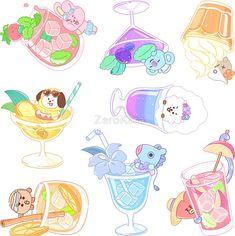 Pegatinas «BT21 Sticker Set Ver.3» de ZeroKara | Redbubble Cute Cartoon Drawings, Bts Drawings, Cute Animal Drawings, Kawaii Drawings, Cute Disney Wallpaper, Cute Cartoon Wallpapers, Bts Wallpaper, Bts Chibi, Kawaii Art