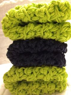 Cozy crotched dishcloths in Lime & Navy Ships by AllAboutTheCozy, $6.00