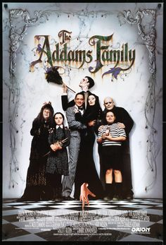 """Film: The Addams Family (1991) Year poster printed: 1991 Country: USA Size: 27""""x 40""""  Creepy. Kooky. Spooky. Ooky.  This is a vintage, single-sided one-sheet movie poster from 1991 for The Addams Family starring Anjelica Houston, Raul Julia, Christopher Lloyd, Christina Ricci, and Jimmy Workman. Barry Sonnenfeld directed the comedy film based on the 1960s tv series.  The movie poster measures 27 x 40 and was printed in the United States for use in theaters outside of the country. The only…"""