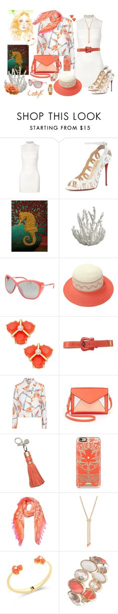 """""""White & Corals"""" by cody-k ❤ liked on Polyvore featuring Elizabeth and James, Christian Louboutin, Chris Benz, Porsche Design, Do Everything In Love, Kate Spade, Fendi, Apt. 9, Rebecca Minkoff and Casetify"""