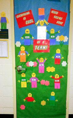 Lego bulletin board. Welcome Door.