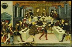 Cassone panel depicting a wedding banquet, thought to be of the story of Alatiel