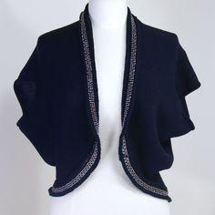 Elie Tahari Beaded Bolero M Dk Blue Shrug Jacket Soft Cotton Silk Bat Wing Snug #ElieTahari #Bolero #Christmas
