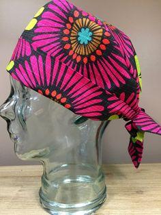 Custom Caps Company Hot Pink Sunflower Scrub Cap, Beautiful Women's Surgical Scrub Cap, Pixie Tie Back Scrub Cap by CustomCapsCompany on Etsy