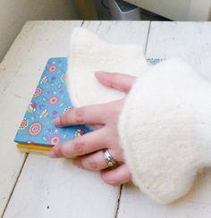 Felt fingerless gloves knit wrist warmers white fingerless gloves hand knit ready to ship winter wear women's gift idea accessory by SixthandDurianGifts