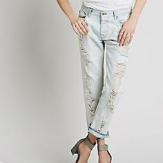 NWT⚡️ FP Destroyer Boyfriend Jeans- 30 New perfectly distressed, 100% cotton boyfriend jeans by NSF.  Ripped, ruffed and stained with a slightly oversized, slouchy fit.  Wear cuffed with sneaks or boots, or add some irony with a blouse and heels.   Made in the USA.  4.5/5 stars!  Color is Rain (very pale blue). Free People Jeans Boyfriend