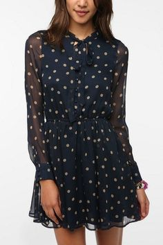 26fe2530a9842 Lucca Couture Chiffon Polka Dot Shirtdress Urban Outfitters  with leggins  for me please D