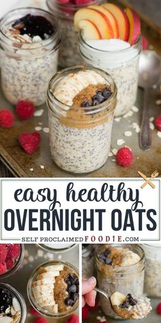 Recipes Breakfast Fitness Overnight Oats are made with four simple ingredients. An easy healthy breakfast recipe tastes great and can be transformed with add-ins and toppings! This is the best grab-and-go breakfast and is perfect for busy families. Low Calorie Overnight Oats, Overnight Oats With Yogurt, Vegan Overnight Oats, Best Overnight Oats Recipe, Blueberry Overnight Oats, Oats Recipes, Healthy Recipes, Healthy Breakfast Recipes, Health Desserts