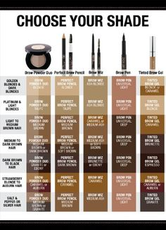 Anastasia Brow Gel helps you achieve a perfect brow almost effortlessly in 5 quick minutes. This chart helps you choose your shade for perfect brows! Anastasia Brow Gel: Get Perfect Brows Watch this 1 minute video for a great eyebrow tutorial that. Perfect Eyebrows Tutorial, Eyebrow Tutorial, Perfect Brows, Eyebrow Shading, Eyebrow Tips, Eyebrow Makeup, Eyebrow Pencil, Makeup Eyebrows, Eyebrow Tinting
