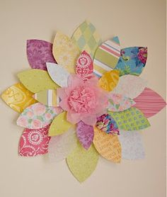 scrapbook paper wall flowers  Oh my goodness, cute & simple!  I need more time though.