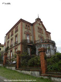 casonas de indianos: 193.- VILLA JULITA - VILLALEGRE ( AVILÉS) Indiana, Villa, Hearth And Home, Interior Architecture, The Dreamers, Colonial, Abandoned, Buildings, Outdoors
