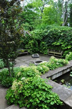 Sunken courtyard garden w/ hydrangea and kiwi vines; Neil Turnbull
