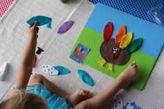 Felt turkey board.  Kids design their turkey with different eyes, feathers, etc.  Copy patterns from pictures already taken or make their own designs.
