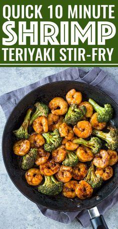 Quick 10 Minute Shrimp Teriyaki Stir-Fry - This is Similar to My Brocco . - Quick 10 Minute Shrimp Teriyaki Stir-Fry – This is similar to my broccoli beef recipe except that - Shrimp Recipes For Dinner, Shrimp Recipes Easy, Healthy Dinner Recipes, Beef Recipes, Cooking Recipes, Healthy Broccoli Recipes, Chinese Shrimp Recipes, Stir Fry Recipes, Easy Healthy Shrimp Recipe