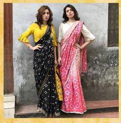 Blacknyellow and pinknwhite both are beautiful Saree for summer. Blouse Back Neck Designs, Silk Saree Blouse Designs, Saree Blouse Patterns, Designer Blouse Patterns, Fancy Blouse Designs, Silk Sarees, Indian Sarees, Trendy Sarees, Stylish Sarees