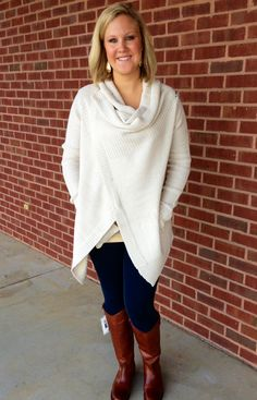 This is a Fall must-have for everyone's closet!! Courtney paired this versatile sweater with our jeggings and Frye boots!! Now available at Emma Laura-Graceful Gold located in Ivy Place 2032B Veterans Blvd. Dublin, GA 31021 478-272-2095 www.emmalaura.com Check us out on Facebook at https://www.facebook.com/pages/GRACEFUL-GOLD-JEWELRY-CO/163839008625