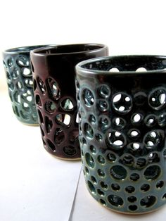 Handmade Modern pottery, candle holder, lace vase - In stock CUBE8