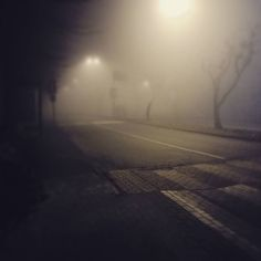 """Looks like in my hometown it's again that """"better I buy a cal.22 shotgun to protect me agains zombies filthy vampires strange things summoned from nowhere and other disgusting shit lurking in the foggy cold ass-creepy winter darkness"""" time of the year.  Oh yeah. I fu@@ing love winter weather.  #fog #foggy #creepy #nightshot #night #winter #winterweather #cold"""