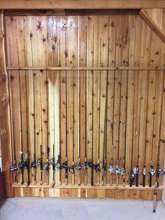 Cedar fishing pole rack
