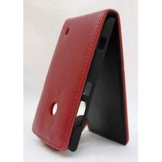 Upea punainen keinonahkainen läppäkotelo Lumia 520:n.