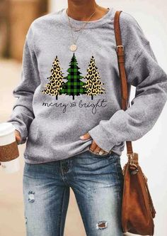 Plaid Leopard Printed Merry And Bright Sweatshirt without Necklace - Gray the best Online Clothing Shopping Boutiques, get the latest fashion clothing online # Plaid Christmas, Ugly Christmas Sweater, Christmas Outfits, Christmas Trees, Christmas Movies, Christmas Clothes, Xmas Tree, Christmas Crafts, Hallmark Christmas