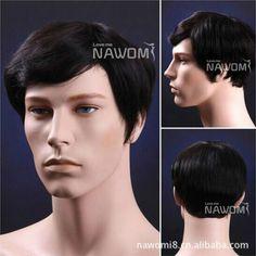 100% Human Hair Popular Nature Black Real Hair Men'S Fashion Short Wig