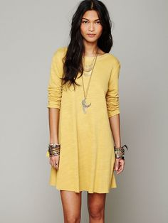 To go with JC over the knee boots...Free People Long Sleeve Swing Dress, $88.00