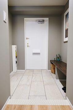 玄関、床、タイル、ベンチ、スツール、マンションリノベ、インテリックス