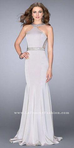 1f2ace3fa32 Beaded Jersey Cut Out Back Prom Dress by La Femme Dresses