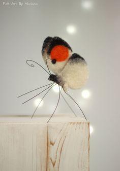 Needle Felted Butterfly Needle Felt Orange FeltArtByMariana