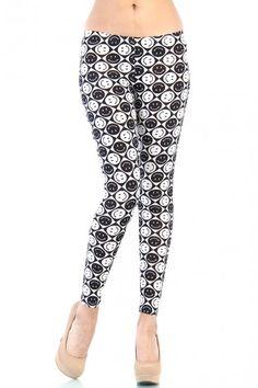 LoveMelrose.com From Harry & Molly   Smiley Face Leggings - Black / White