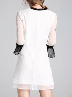 Casual Frill Sleeve Hand-drawn Stand Collar Silk Mini Dress
