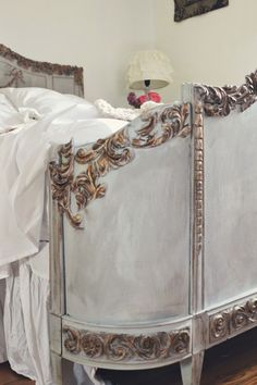 Close up of a gorgeous vintage bed makeover with Efex latex moldings and a lovely combination of Paris Grey & Old White Chalk Paint® decorative paint by Annie Sloan   By by Victoria of Trois Petites Filles