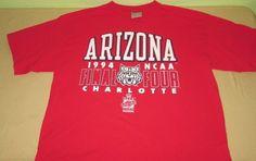 Vntg 90s ARIZONA WILDCATS NCAA T Shirt Sz L Large  - Red - 1994 Final Four 4 USA #Gear #ArizonaWildcats