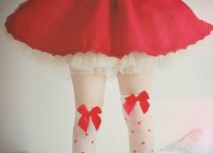 Super sweet heart thigh highs with bows. We had these,  but they have sadly been discontinued.
