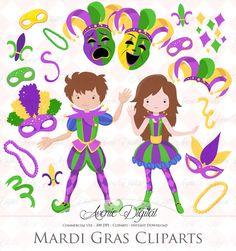 Mardi Gras Clipart Vectors By Aveniedigital On Creative Market Design Typography Graphic Design Art