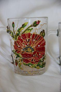 Купить Стаканы для чая и др. напитков. Роспись по стеклу, витражная роспись - комбинированный, Роспись по стеклу