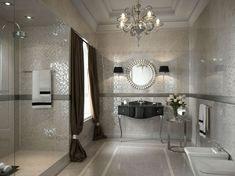 klassische Badgestaltung Ideen Mosaikfliesen Farbe