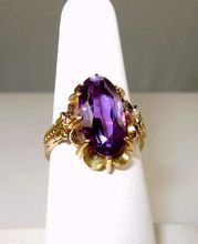 Russian 3.70ctw 14K Gold Synthetic Purple Sapphire Ring at rubylane.com
