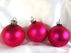 3 Hot Pink Shiny Brite Christmas Ornaments  Matte / Satin