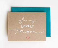 For My Lovely Mom - Blank Card - Mother's Day - white on kraft - screen printed - hot pink - modern - elegant - calligraphy - hand lettering on Etsy, $5.00