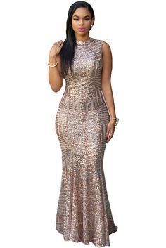 Her Stunning Blush Sequins Keyhole Back Evening Party Gown