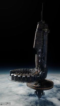 """Dark Matter"" concept art by Jeff Bartzis Spaceship Art, Spaceship Design, Arte Sci Fi, Sci Fi Art, Concept Art Landscape, Nave Star Wars, Starship Concept, Sci Fi Spaceships, Sci Fi Environment"