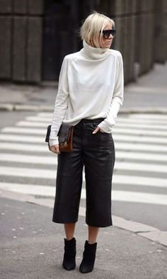 Best How To Wear Culottes In Winter Trousers 70 Ideas How To Wear Culottes, Culottes Outfit, Scandi Chic, Scandi Style, Fall Winter Outfits, Winter Fashion, Summer Outfits, Leather Culottes, Casual Outfits