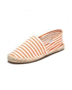 Classic Stripe - Orange & White Linen Espadrilles for Women from Soludos - Soludos Espadrilles